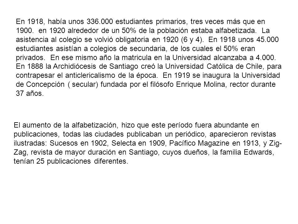 En 1918, había unos 336.000 estudiantes primarios, tres veces más que en 1900. en 1920 alrededor de un 50% de la población estaba alfabetizada. La asistencia al colegio se volvió obligatoria en 1920 (6 y 4). En 1918 unos 45.000 estudiantes asistían a colegios de secundaria, de los cuales el 50% eran privados. En ese mismo año la matricula en la Universidad alcanzaba a 4.000. En 1888 la Archidiócesis de Santiago creó la Universidad Católica de Chile, para contrapesar el anticlericalismo de la época. En 1919 se inaugura la Universidad de Concepción ( secular) fundada por el filósofo Enrique Molina, rector durante 37 años.