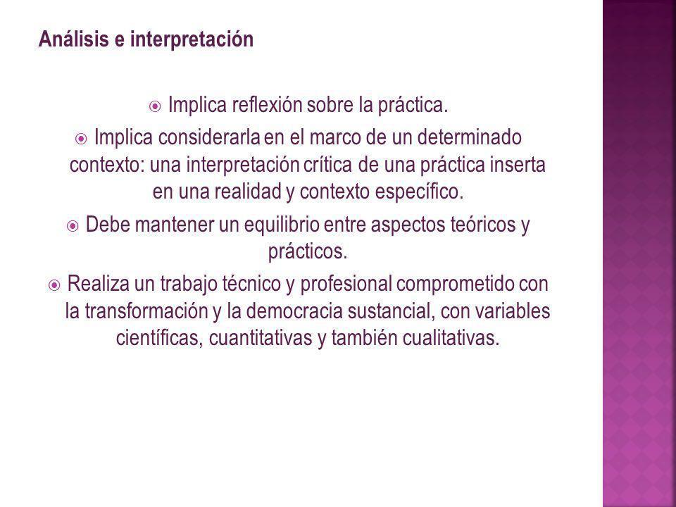 Análisis e interpretación Implica reflexión sobre la práctica.