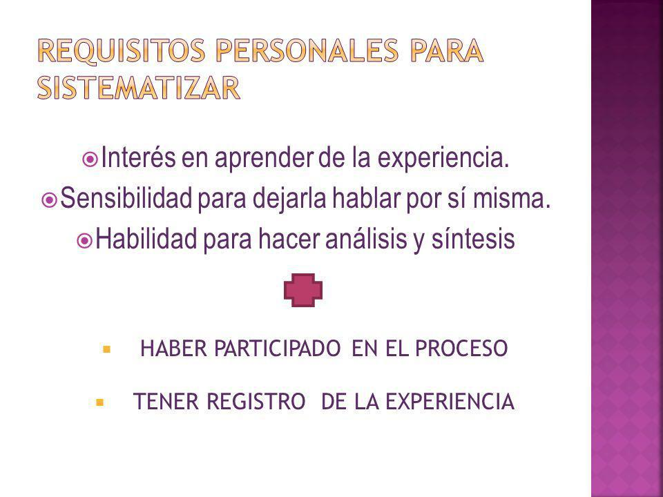 Requisitos personales para sistematizar