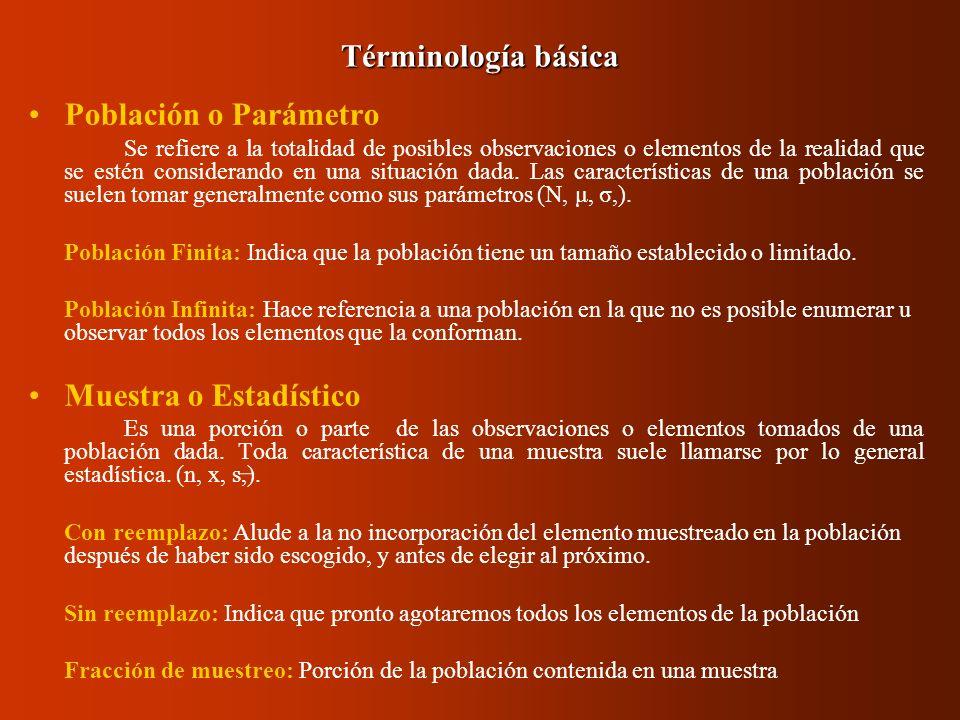 Términología básica Población o Parámetro Muestra o Estadístico