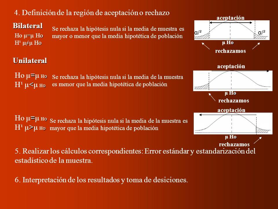 4. Definición de la región de aceptación o rechazo