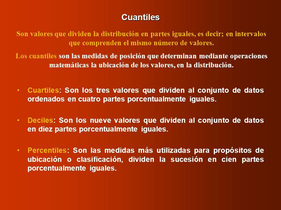 CuantilesSon valores que dividen la distribución en partes iguales, es decir; en intervalos que comprenden el mismo número de valores.