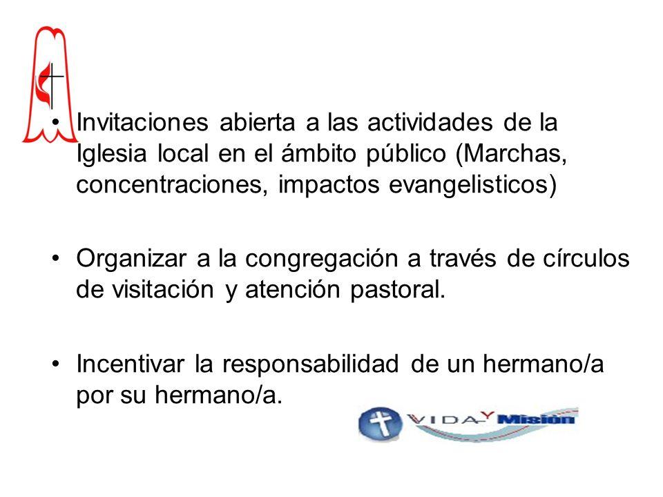 Invitaciones abierta a las actividades de la Iglesia local en el ámbito público (Marchas, concentraciones, impactos evangelisticos)