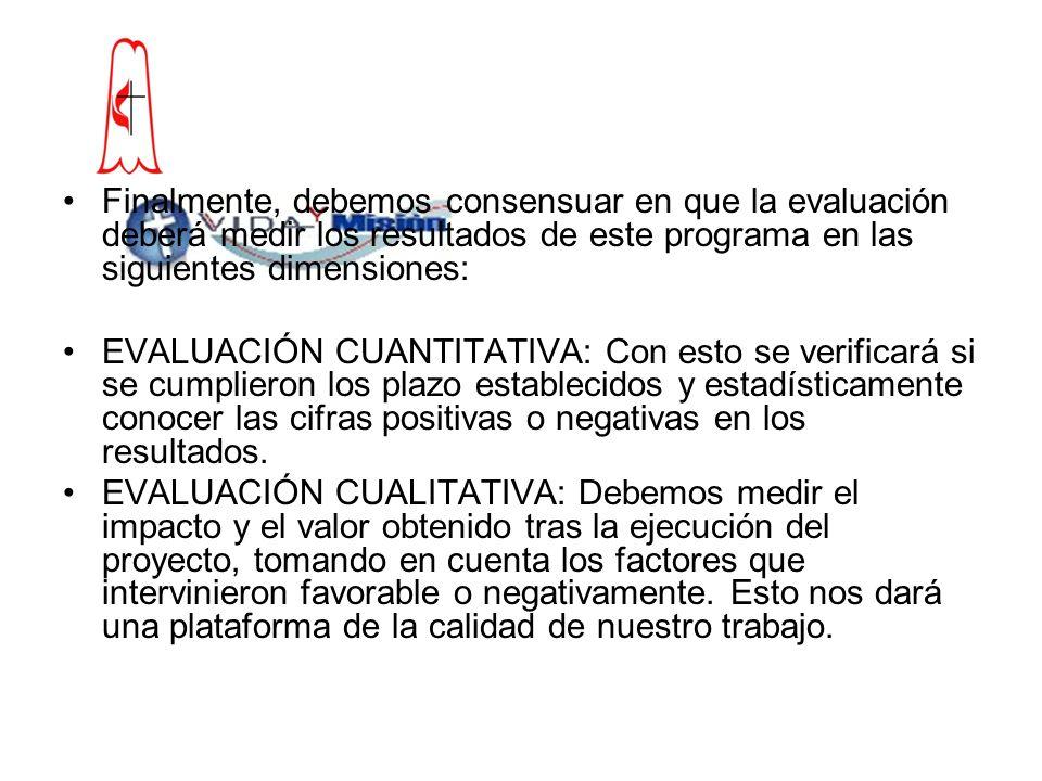 Finalmente, debemos consensuar en que la evaluación deberá medir los resultados de este programa en las siguientes dimensiones: