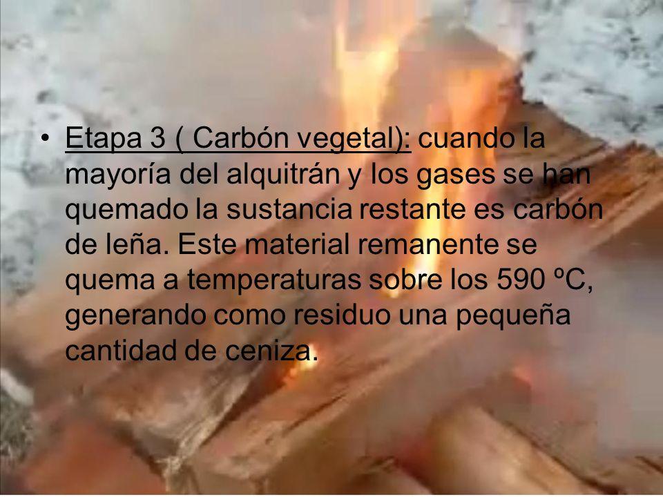 Etapa 3 ( Carbón vegetal): cuando la mayoría del alquitrán y los gases se han quemado la sustancia restante es carbón de leña.