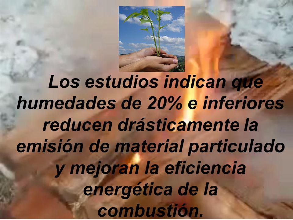 Los estudios indican que humedades de 20% e inferiores reducen drásticamente la emisión de material particulado y mejoran la eficiencia energética de la combustión.