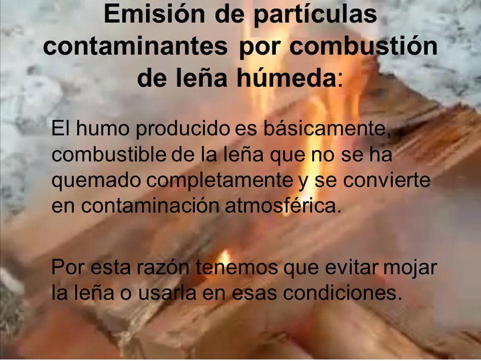 Emisión de partículas contaminantes por combustión de leña húmeda: