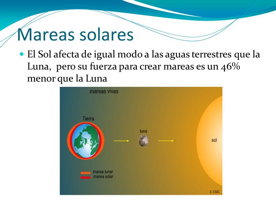 Mareas solares El Sol afecta de igual modo a las aguas terrestres que la Luna, pero su fuerza para crear mareas es un 46% menor que la Luna.