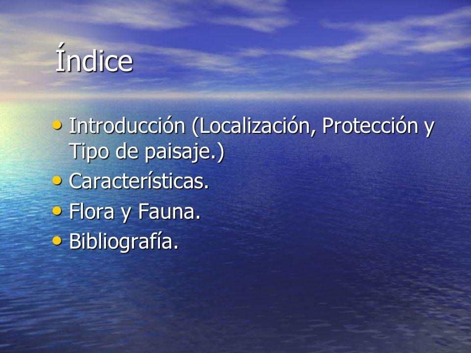 Índice Introducción (Localización, Protección y Tipo de paisaje.)