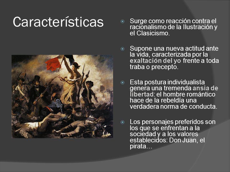 Características Surge como reacción contra el racionalismo de la Ilustración y el Clasicismo.