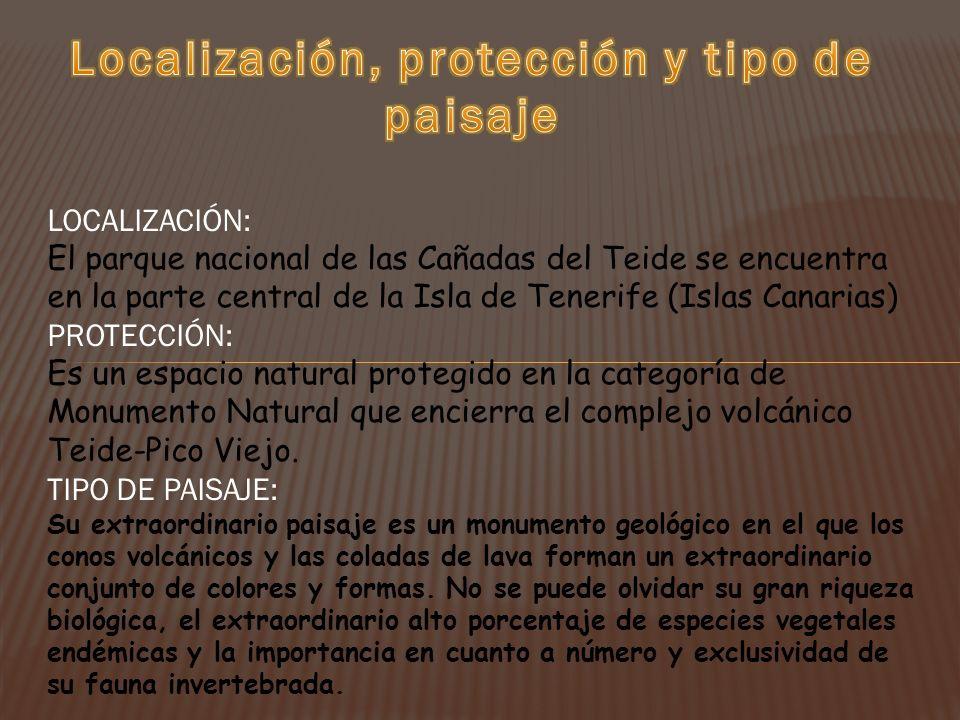 Localización, protección y tipo de paisaje