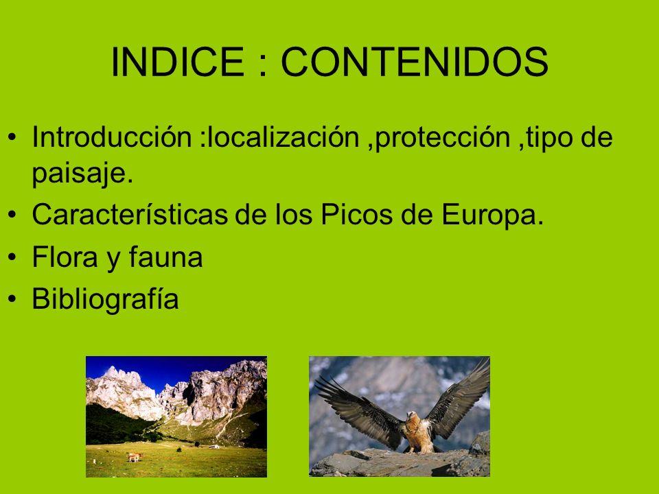 INDICE : CONTENIDOS Introducción :localización ,protección ,tipo de paisaje. Características de los Picos de Europa.