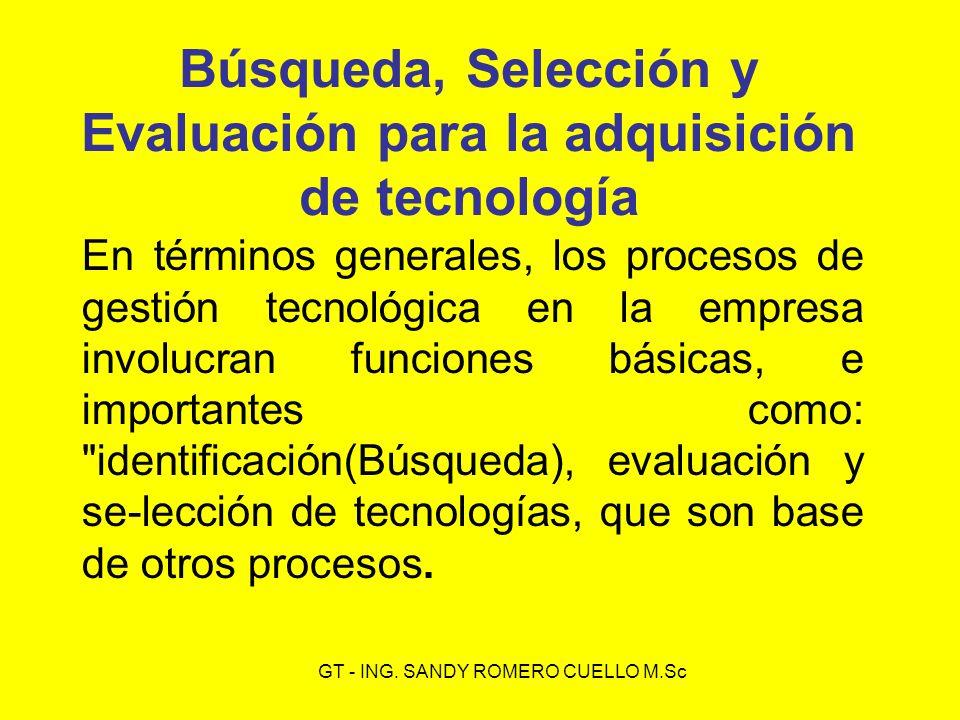 Búsqueda, Selección y Evaluación para la adquisición de tecnología