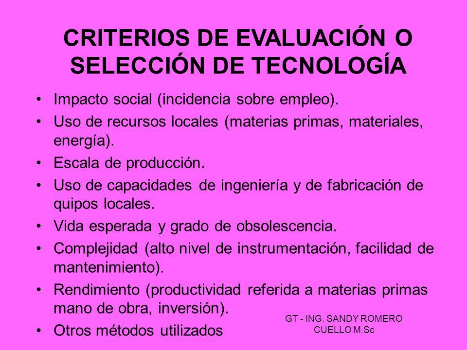 CRITERIOS DE EVALUACIÓN O SELECCIÓN DE TECNOLOGÍA