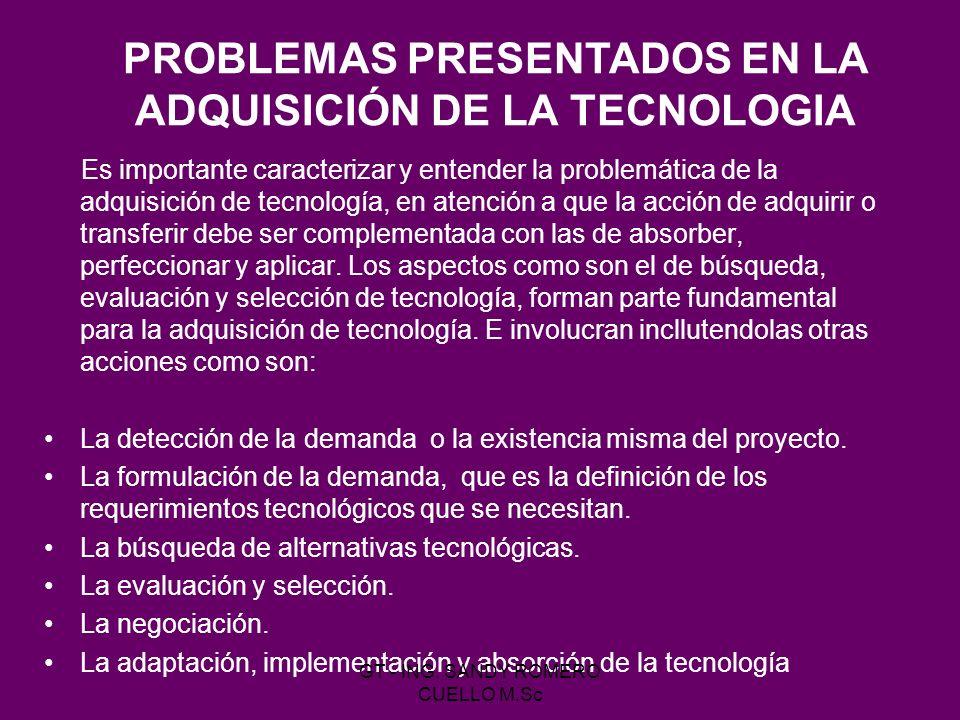 PROBLEMAS PRESENTADOS EN LA ADQUISICIÓN DE LA TECNOLOGIA