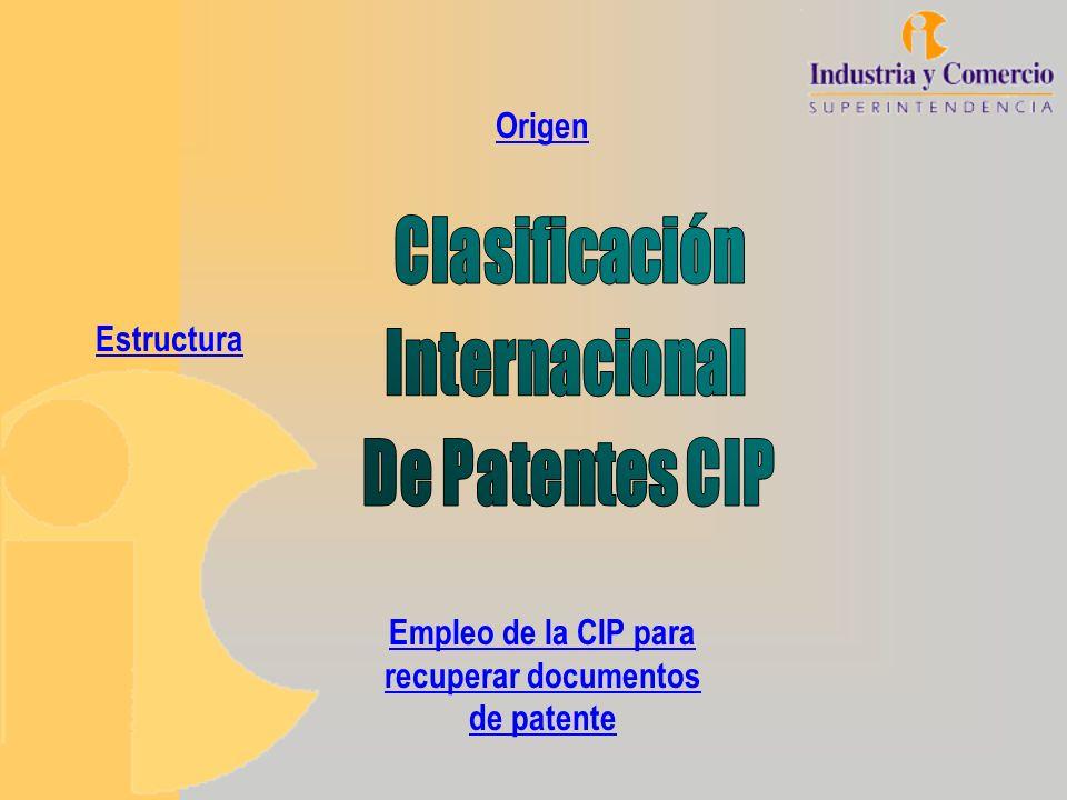 Empleo de la CIP para recuperar documentos de patente