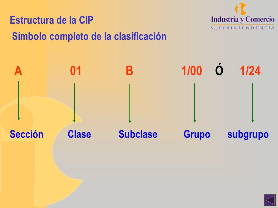 A 01 B 1/00 Ó 1/24 Estructura de la CIP