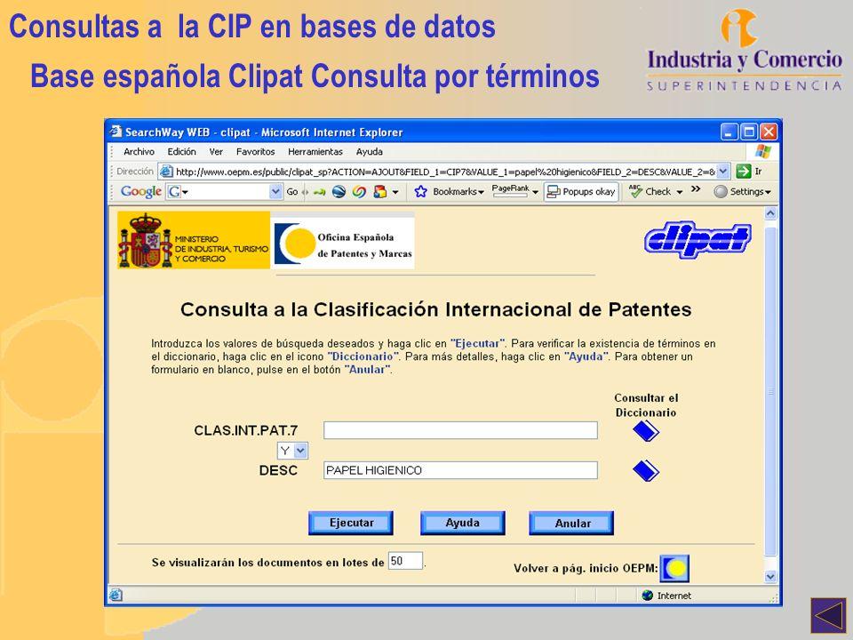 Consultas a la CIP en bases de datos