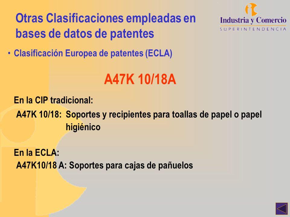 A47K 10/18A En la CIP tradicional: