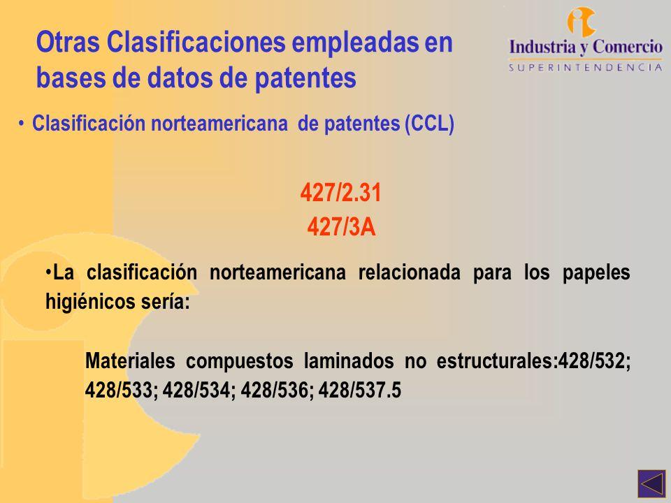 Otras Clasificaciones empleadas en bases de datos de patentes