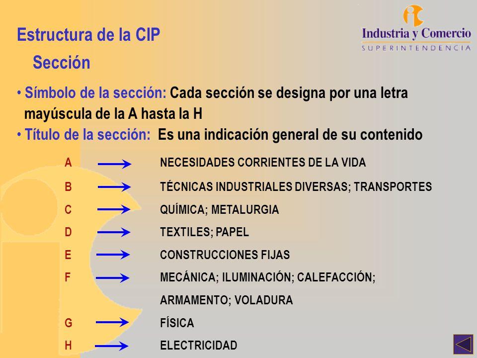 Estructura de la CIP Sección