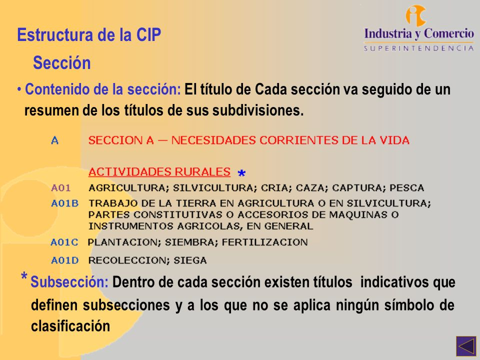 Estructura de la CIP Sección. Contenido de la sección: El título de Cada sección va seguido de un.