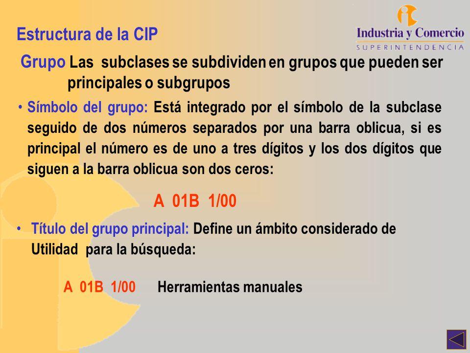 Estructura de la CIP Grupo Las subclases se subdividen en grupos que pueden ser principales o subgrupos.