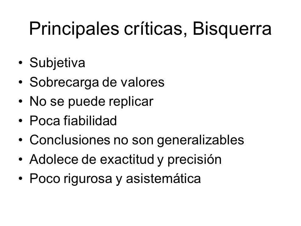 Principales críticas, Bisquerra
