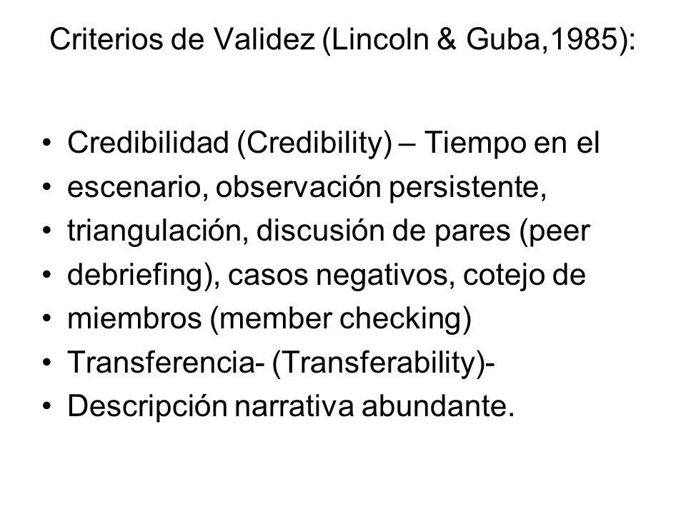 Criterios de Validez (Lincoln & Guba,1985):