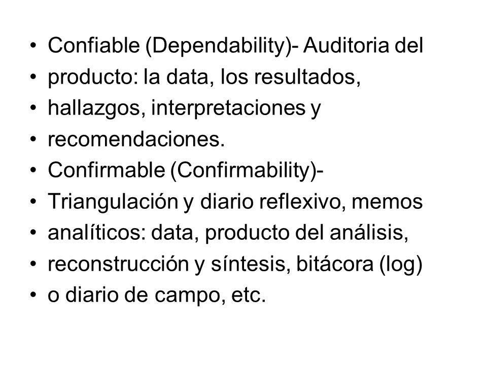 Confiable (Dependability)- Auditoria del
