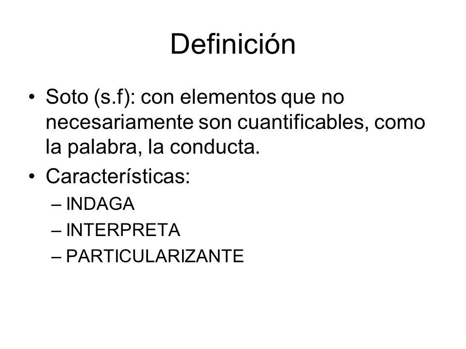 Definición Soto (s.f): con elementos que no necesariamente son cuantificables, como la palabra, la conducta.
