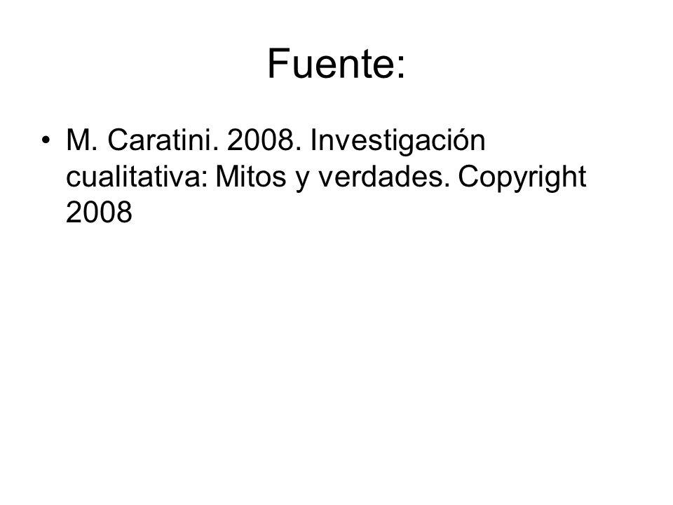 Fuente: M. Caratini. 2008. Investigación cualitativa: Mitos y verdades. Copyright 2008