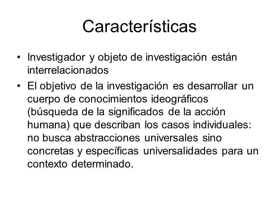 Características Investigador y objeto de investigación están interrelacionados.