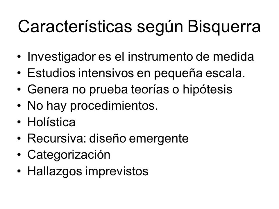 Características según Bisquerra