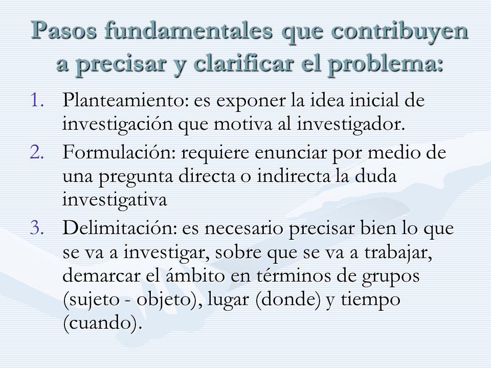 Pasos fundamentales que contribuyen a precisar y clarificar el problema: