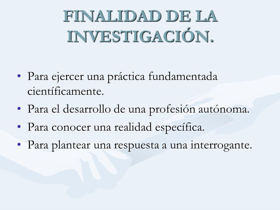 FINALIDAD DE LA INVESTIGACIÓN.