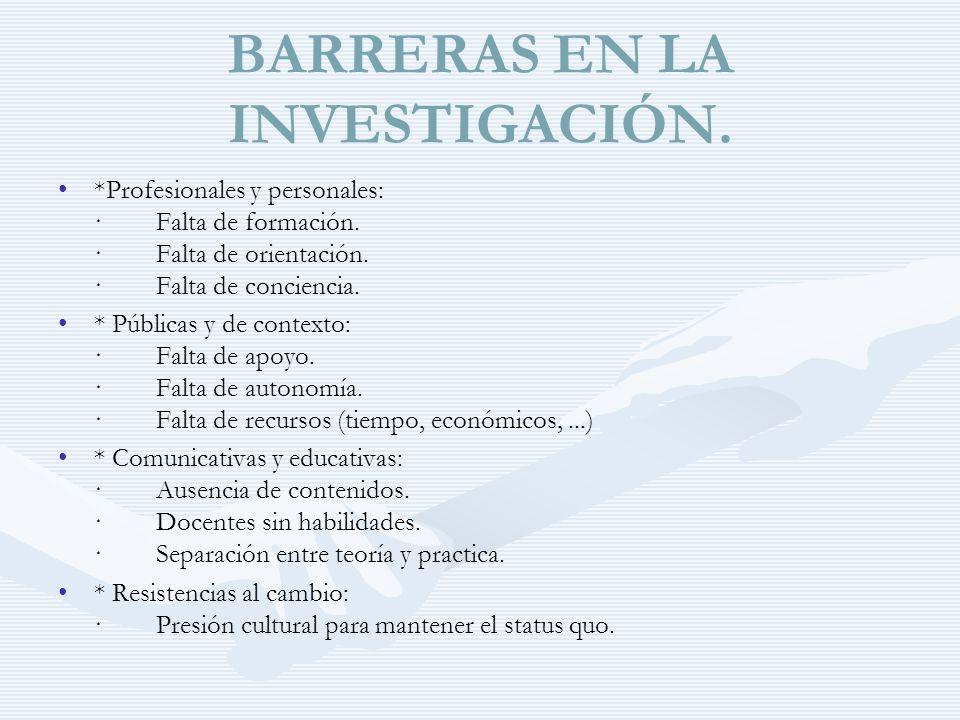 BARRERAS EN LA INVESTIGACIÓN.