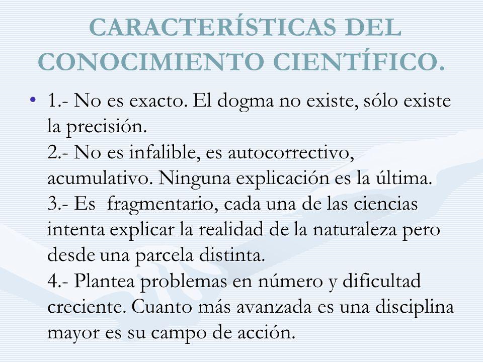 CARACTERÍSTICAS DEL CONOCIMIENTO CIENTÍFICO.
