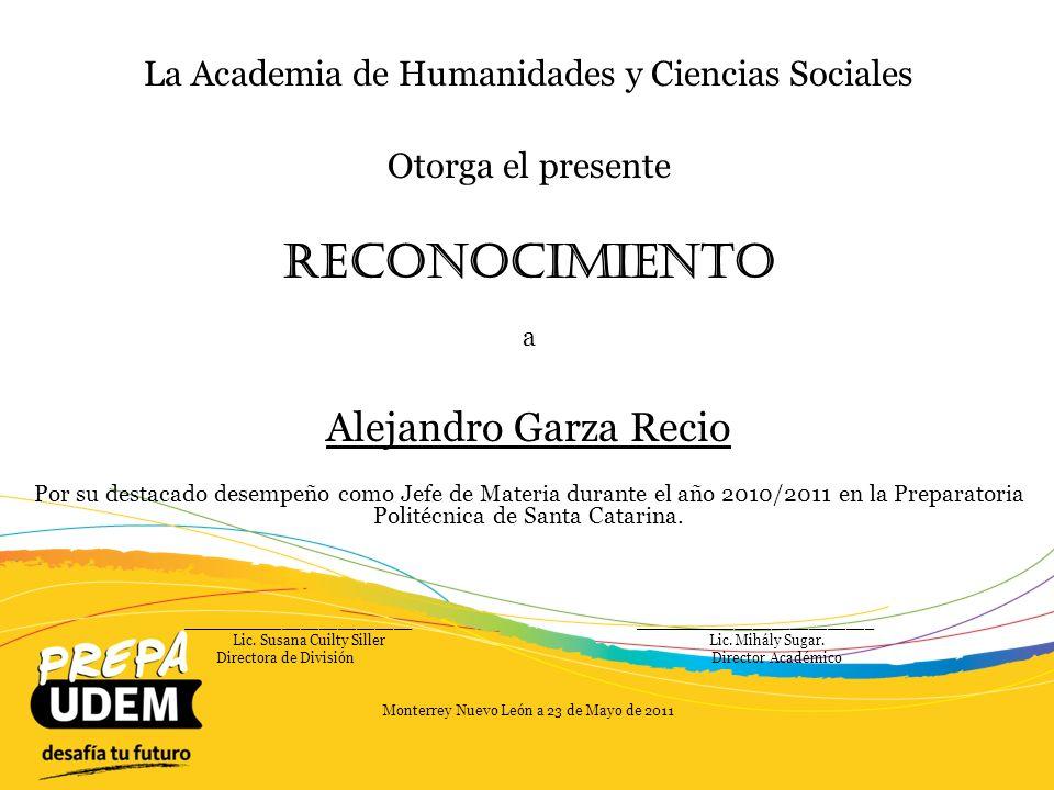 Reconocimiento Alejandro Garza Recio