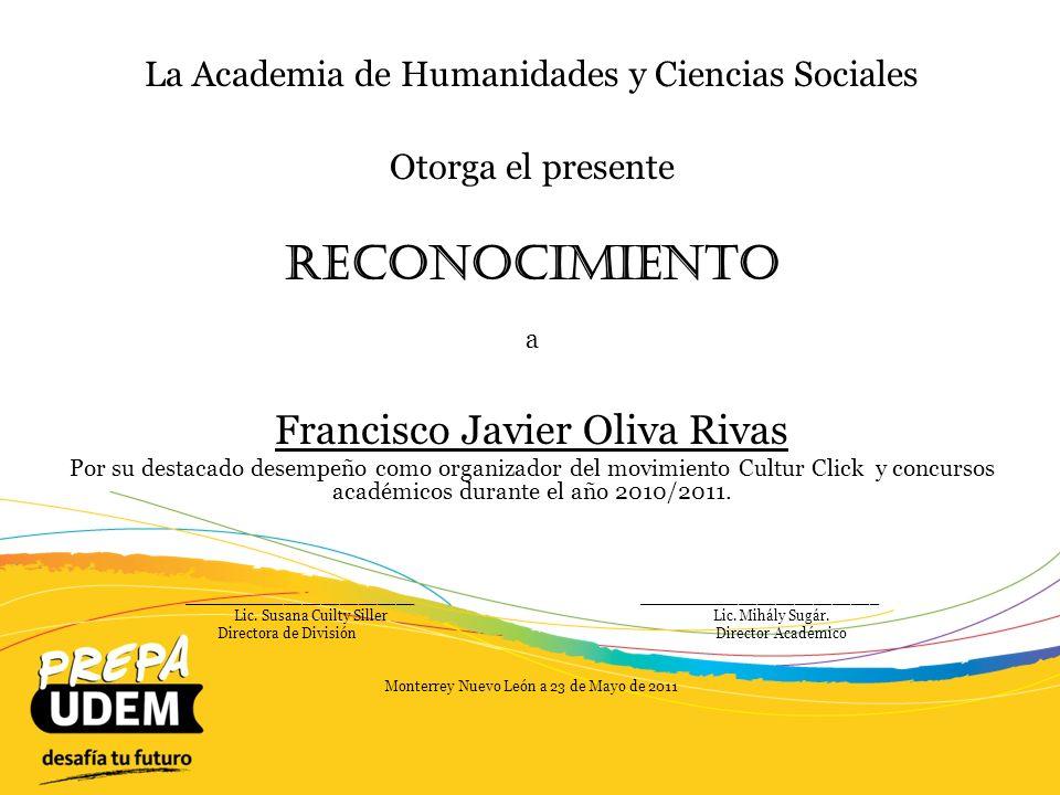Reconocimiento Francisco Javier Oliva Rivas