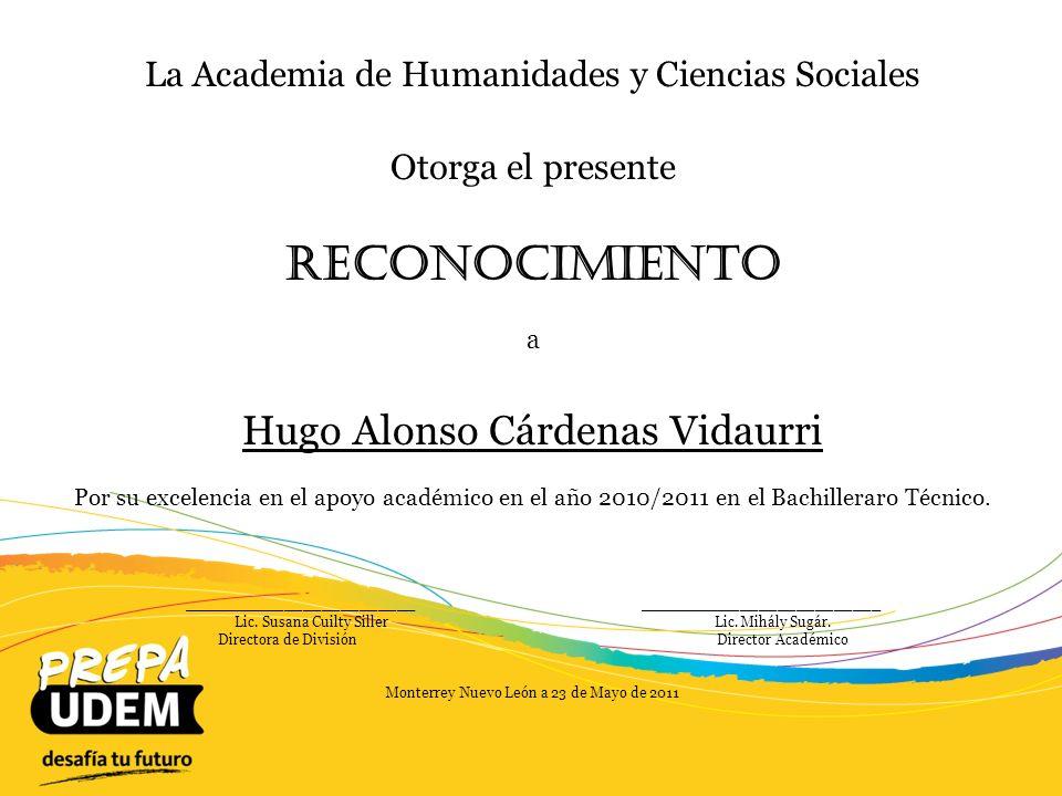 Reconocimiento Hugo Alonso Cárdenas Vidaurri