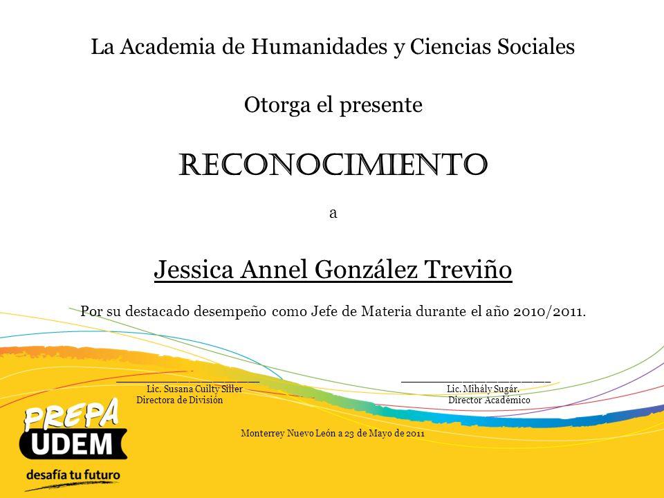 Reconocimiento Jessica Annel González Treviño