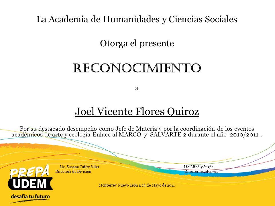 Reconocimiento Joel Vicente Flores Quiroz