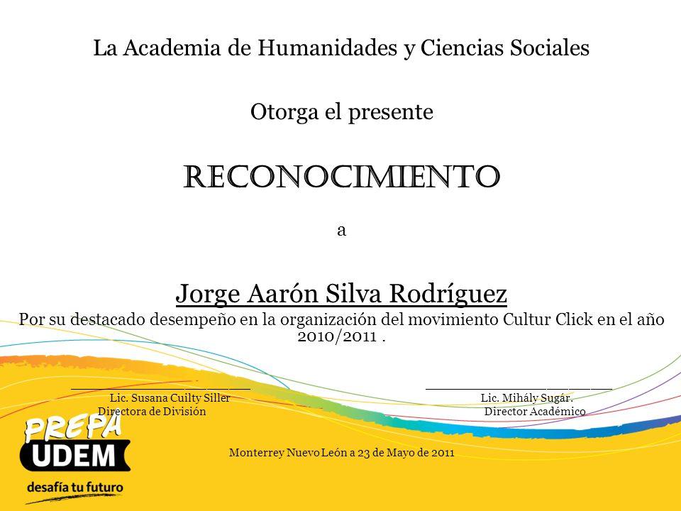 Reconocimiento Jorge Aarón Silva Rodríguez