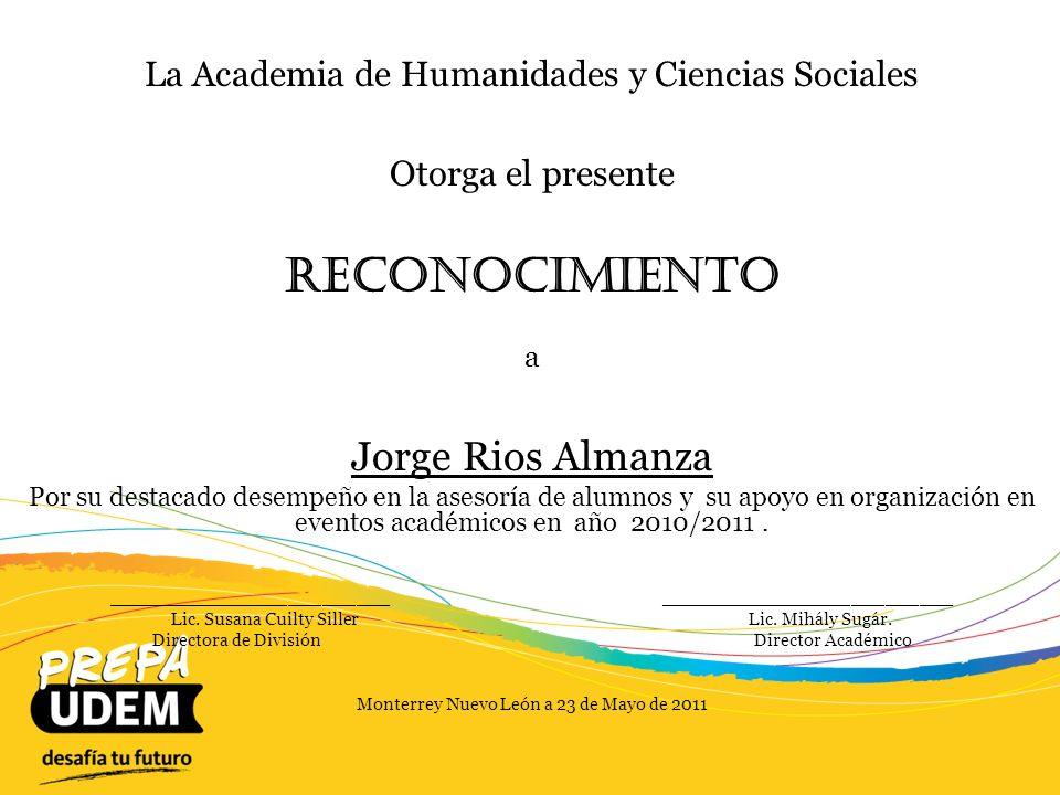 Reconocimiento Jorge Rios Almanza