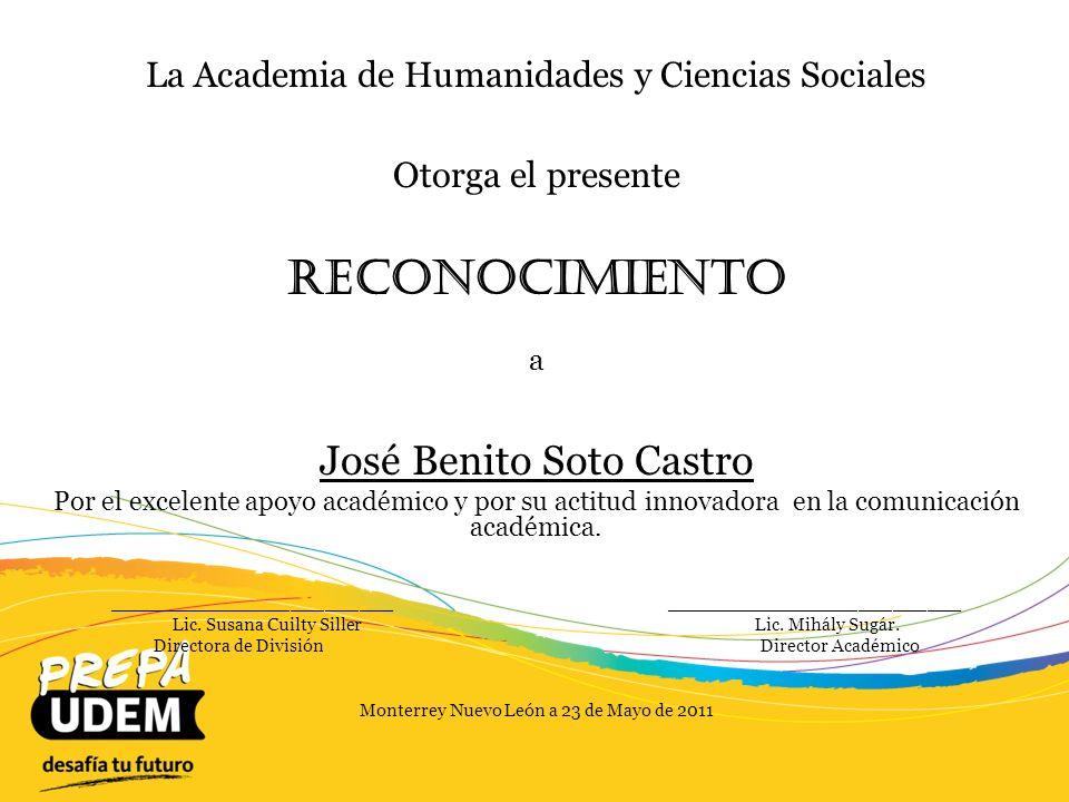 Reconocimiento José Benito Soto Castro