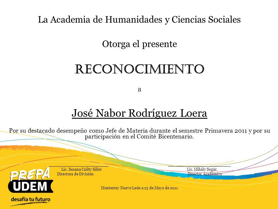 Reconocimiento José Nabor Rodríguez Loera