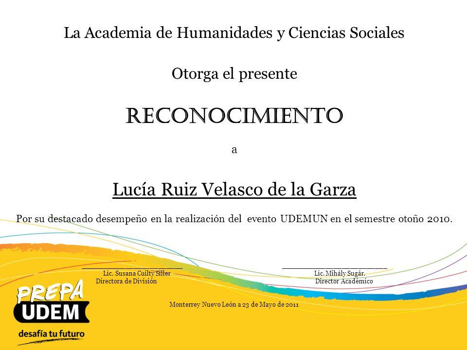 Reconocimiento Lucía Ruiz Velasco de la Garza