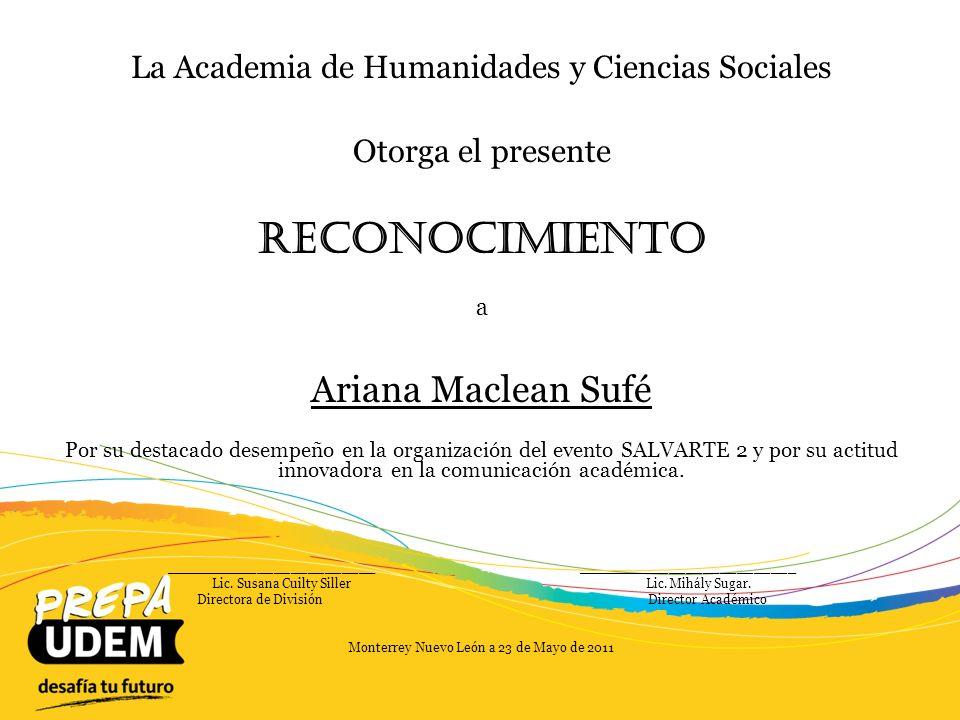 Reconocimiento Ariana Maclean Sufé