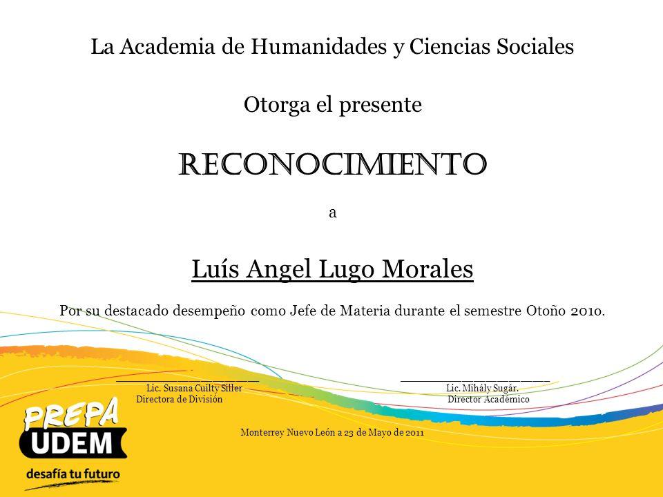 Reconocimiento Luís Angel Lugo Morales